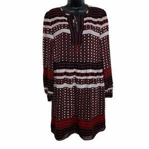 LOFT Outlet Printed A-Line Dress Long Sleeves